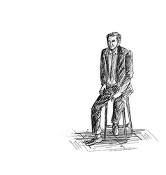 Hand sketch man sitting on the chair vector