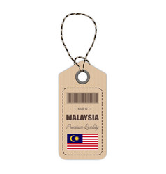 Hang tag made in malaysia with flag icon isolated vector