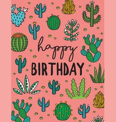 happy birthday exotic print with hand drawn vector image vector image