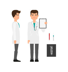 male doctor in medical gown side and front view vector image vector image