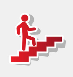 Man on stairs going up new year reddish vector