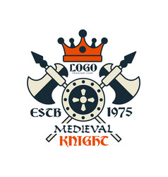 Medieval knight logo escb 1975 vintage badge or vector