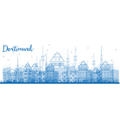 Outline dortmund germany city skyline with blue vector