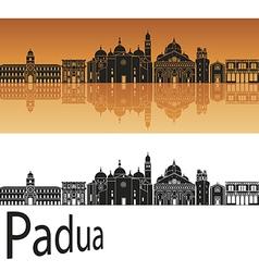 Padua skyline in orange background vector image vector image