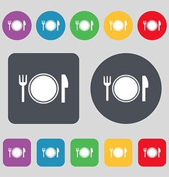 Plate icon sign A set of 12 colored buttons Flat vector image vector image