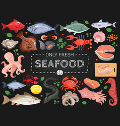 Seafood colorful chalkboard menu poster vector