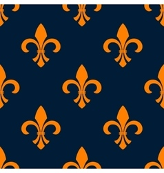 Seamless orange fleur-de-lis floral pattern vector
