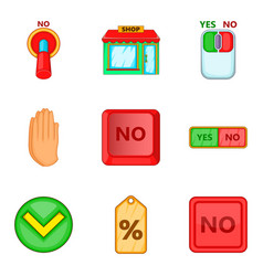 Select an answer icons set cartoon style vector