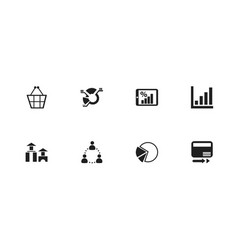 Set of 8 editable analytics icons includes vector