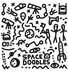 space - doodles set vector image vector image