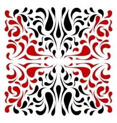 Square dual color ornament with red and black drop vector