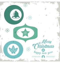 Star bell and leaves icon merry christmas design vector