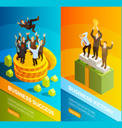 Successful business people celebration isometric vector