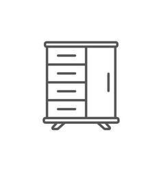 table with drawers isolated icon in linear style vector image vector image