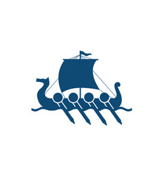 Vikings ship in nordic sea vector