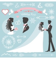 Wedding wintar decor set with bridegroom vector