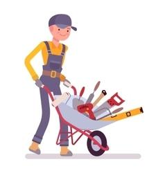 Worker with wheelbarrow vector