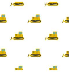 Yellow bulldozer pattern flat vector