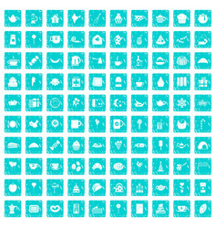 100 tea party icons set grunge blue vector image vector image