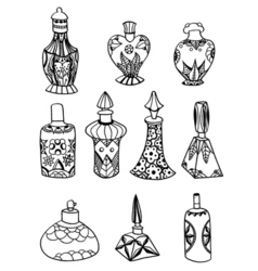 Isolated perfume bottles vector
