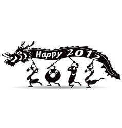 happy new year 2012 dragon year vector image
