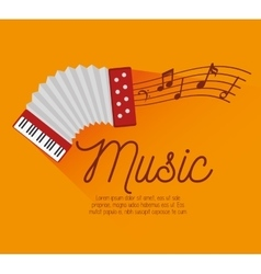 festival music accordion notes icon design vector image