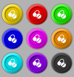 Medical pill icon sign symbol on nine round vector