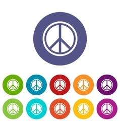 Sign hippie peace set icons vector