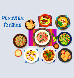 Peruvian cuisine icon with seafood dishes vector