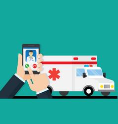 Call ambulance car via mobile phone vector