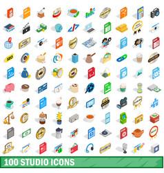 100 studio icons set isometric 3d style vector image
