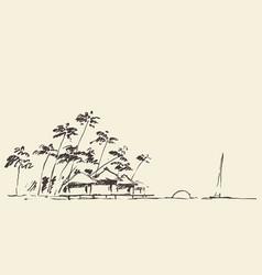 Sketches seaside view beach sketch vector