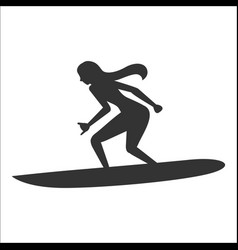 Surfing silhouette of a woman vector