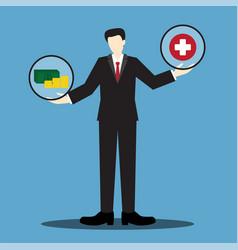 Money or health businessman scale vector