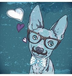 Hipster background with a dog vector image