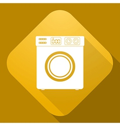 Icon of washing machine with a long shadow vector