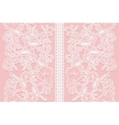 Wide white seamless lace ribbon on a pink vector