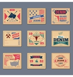 Vintage denim typography set vector