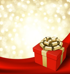 gift box with ribbon on curtain vector image