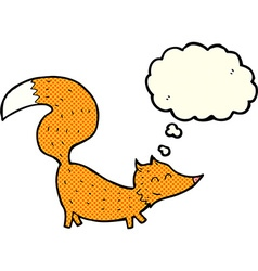 Cartoon little fox with thought bubble vector