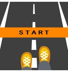 Start line road sign vector