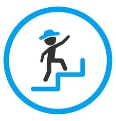 Boy steps upstairs rounded icon vector