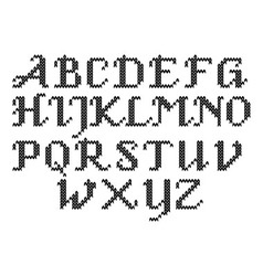 Black and white knitted alphabet vector