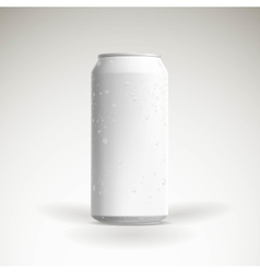 Photorealistic beer can mockup with water vector