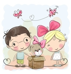 Boy and Girl with Cute Puppy vector image