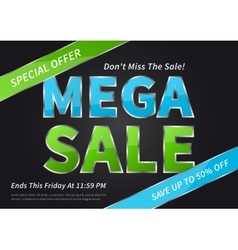Banner mega sale on black vector