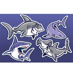 cartoon of shark collection pack vector image vector image