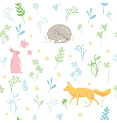 Childish animals pattern vector image vector image