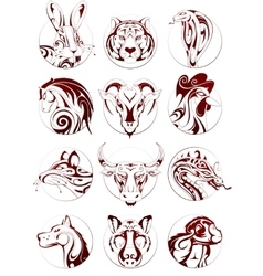 Chinese zodiac animals set vector