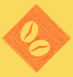 Coffee beans sign red scribble icon vector